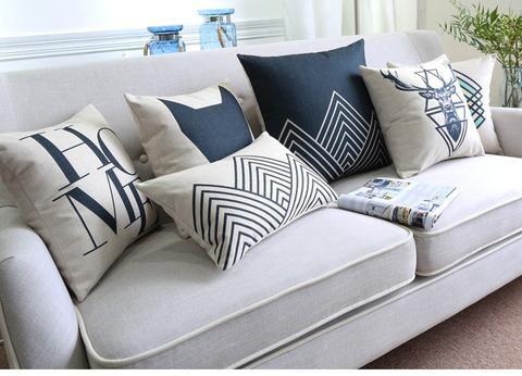2016 New Black White Deer Pillow Nordic Geometric Cushion Linen Pillowcase Sofa