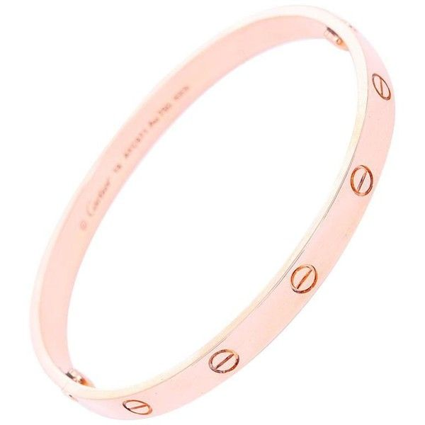 Preowned Cartier Love Bracelet Rose Gold With Screwdriver ($6,000) ❤ liked on Polyvore featuring jewelry, bracelets, bangles, red, 18k rose gold jewelry, pre owned jewelry, 18k jewelry, rose gold bangle bracelet and 18k bangle