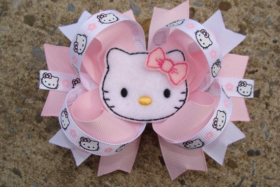 Hello Kitty Hair Bow Large Boutique Hair Bow Light by innavert, $9.00