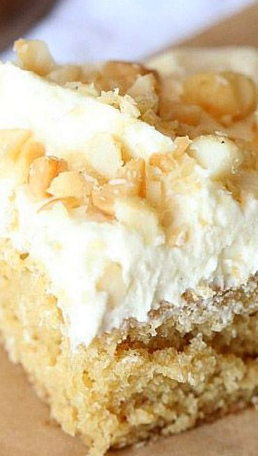 White Chocolate Macadamia Nut Cake (Kim Weber used this cake recipe and another recipe for frosting)