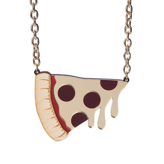 XL Pizza necklace  laser cut acrylic by sugarandvicedesigns