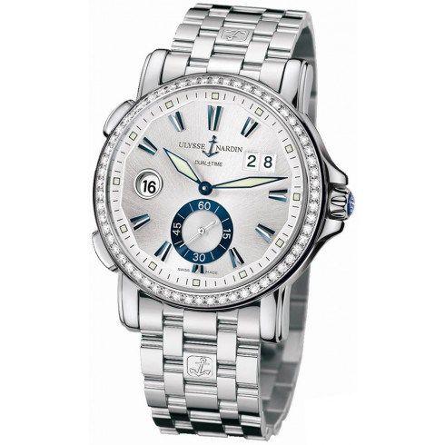 Ulysse Nardin 243-55 B-7-91 GMT Grossdatum Silber Anzeige Diamant-Edelstahl