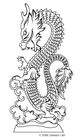This is a chinese dragon which I like the position/view it has been drawn in, from side on and how the scales create a texture to it