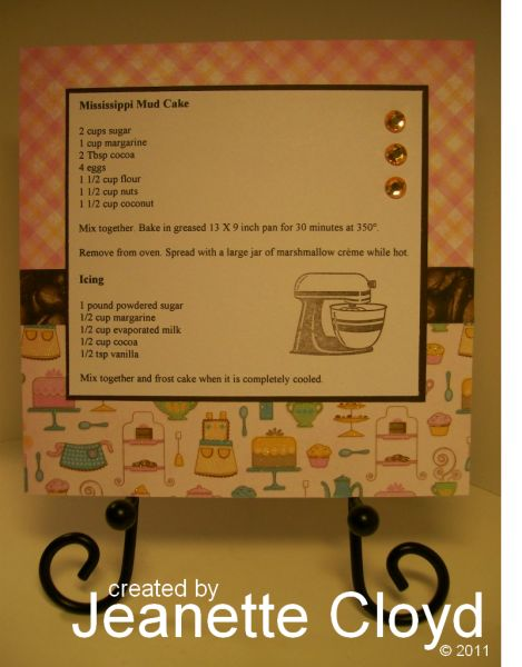 Mississippi Mud Cake Recipe Card by Forest Ranger - Cards and Paper Crafts at Splitcoaststampers