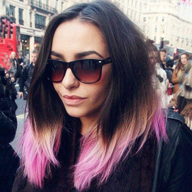 black grey pink ombre medium-length hairstyles