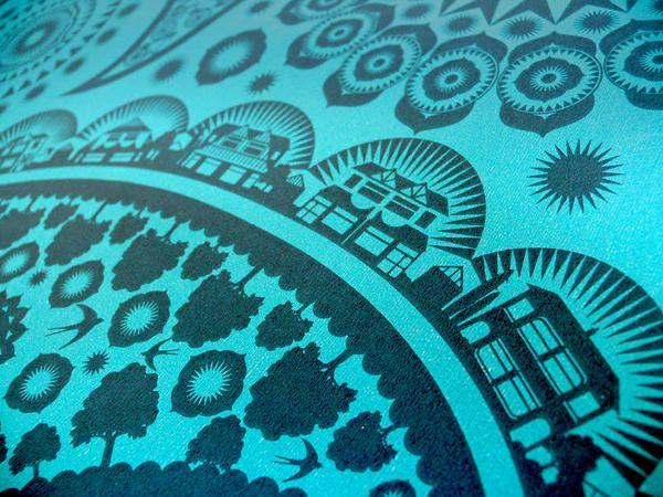Detail of Paisley Crescent wallpaper from Mini Modern, via Design Sponge. Neighborhoods hide in the paisleys.