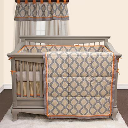 modern grey and orange baby crib bedding set contemporary style crib