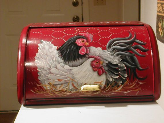 vintage bread box... hand painted.