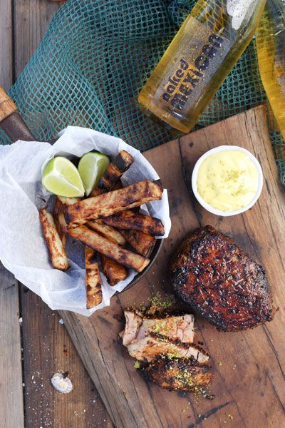 Blackened Tuna Steak & Chips with Zesty Lime Mayo recipe. This one is for the braai in summer with a cool something to wash it down.
