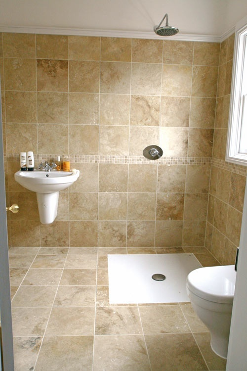 Head to toe travertine tile was on sale at costco a few for Small bathroom designs you should copy