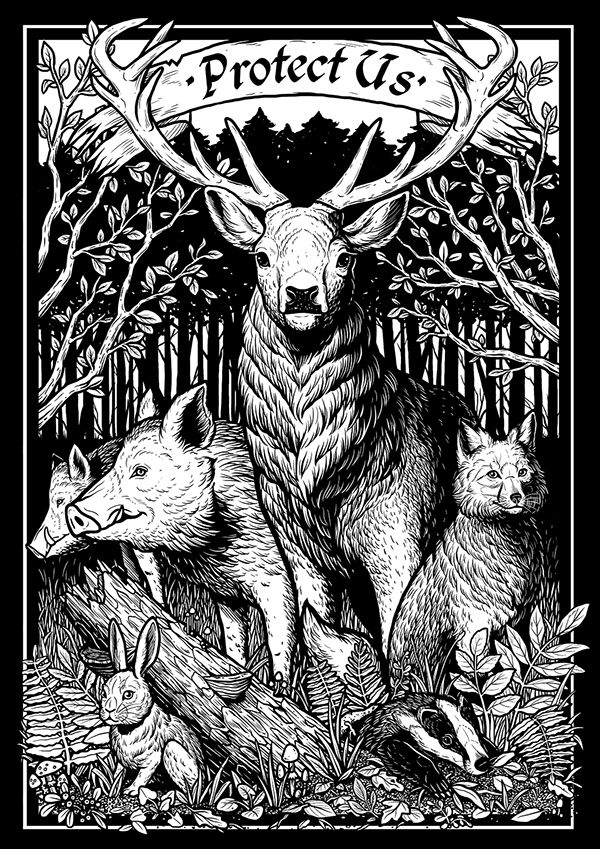 """""""Protect Us"""" is a design dedicated to the beautiful and majestic forest animals. It carries an anti-hunting message and was made for a vegan clothing brand - MENIMA."""