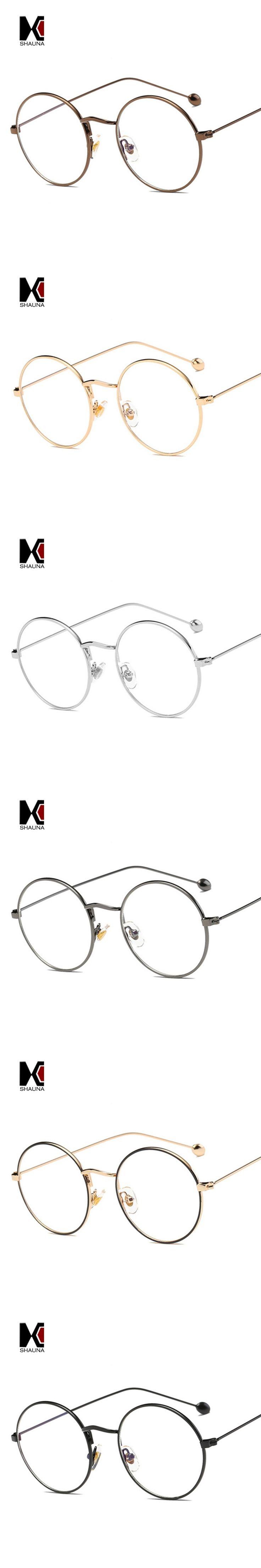 SHAUNA Super Round Women Metal Glasses Frame Fashion Men Clear Lens Eyeglasses