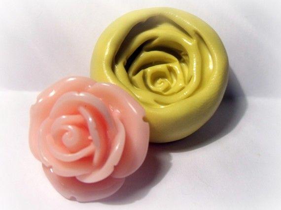 kawaii large rose flexible silicone push mold / craft/ by moldsrus, $5.99