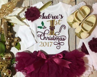 b7ffc22b136 Personalized Baby Girl Christmas Outfit in wine burgundy and gold - My  First Christmas - Baby Girl Christmas Onesie - Baby s 1st Christmas