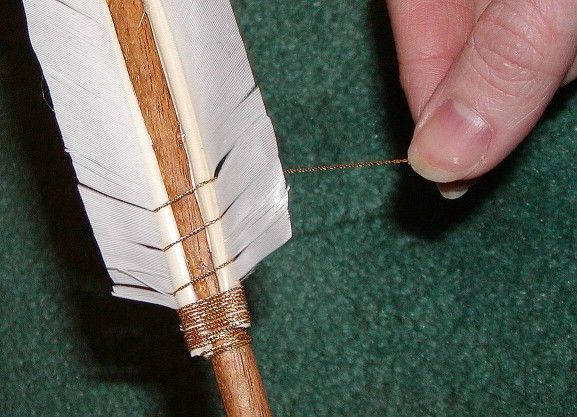 Tutorial on costume arrow fletching - for Arrow of Light Career Arrow award. Here is the link to the color stripes to represent the achievements earned  http://www.arkie.net/~pow-wow/arrow.pdf