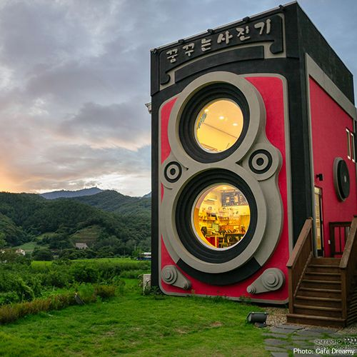 Lots of people consider turning a hobby into a business, but a couple of South Korean camera enthusiasts took the concept to a different place. Their Yangpyeong coffee shop, Café Dreamy, is tucked inside a two-story replica of a Rolleiflex twin-lens camera.  Via T+L (www.travelandleisure.com).