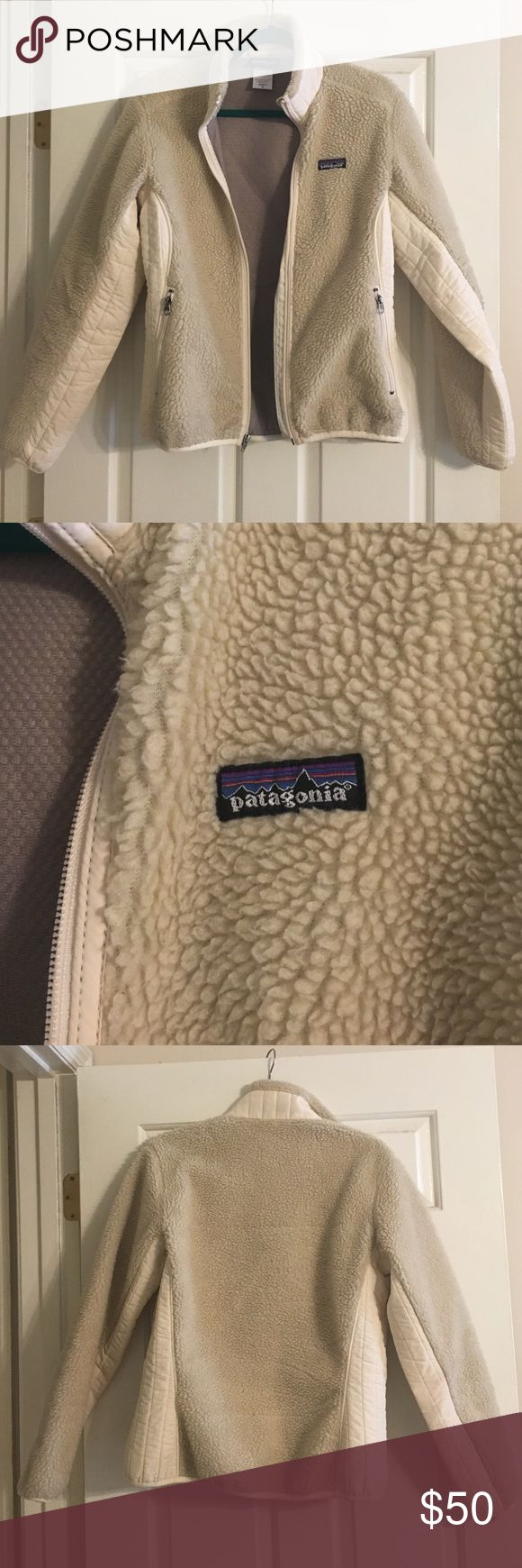 Patagonia Cream Synchilla Full Zip Jacket Patagonia women's medium full zip jacket. A little wear around elbows (see photo).  Overall good condition, just too small for me now! Patagonia Jackets & Coats