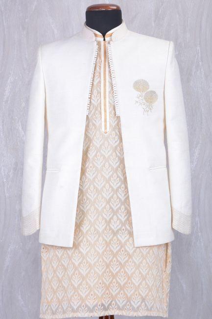 Off White Raw Silk Zari Embroidered IndoWestern Sherwani-IW964