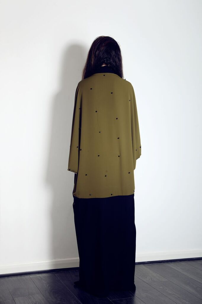The back of our beautiful Khaki cape abaya with black beads, available on our website for just £135