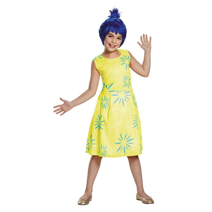 Halloween Disney Inside Out Girls' Joy Classic Costume Yellow Small, Size: S(4-6)
