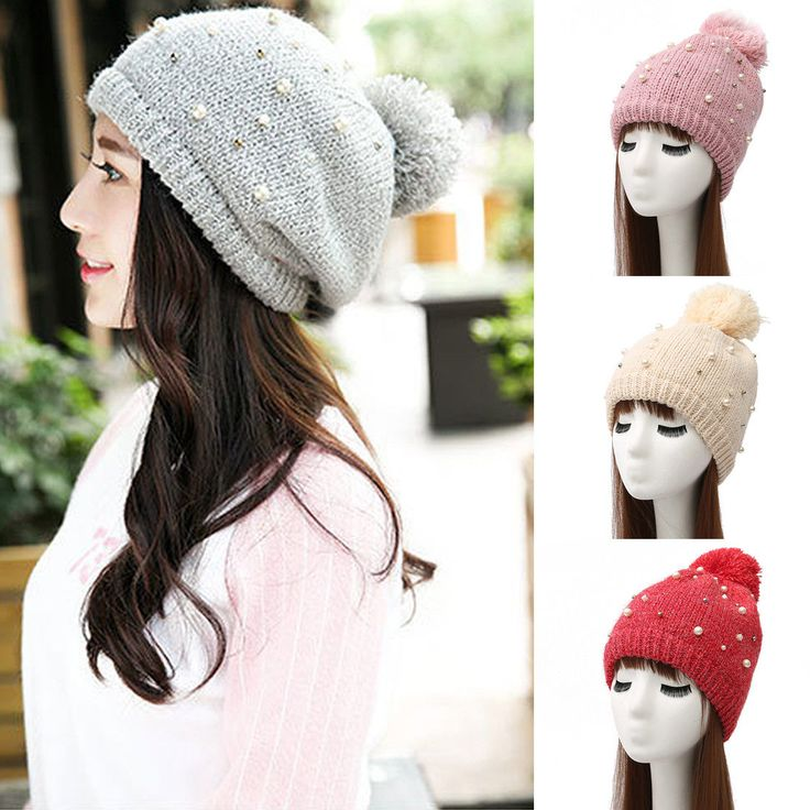 Fashion Women Girl Winter Keep Warm Knitted Pompom Beanies Cap Ladies Hats Gifts