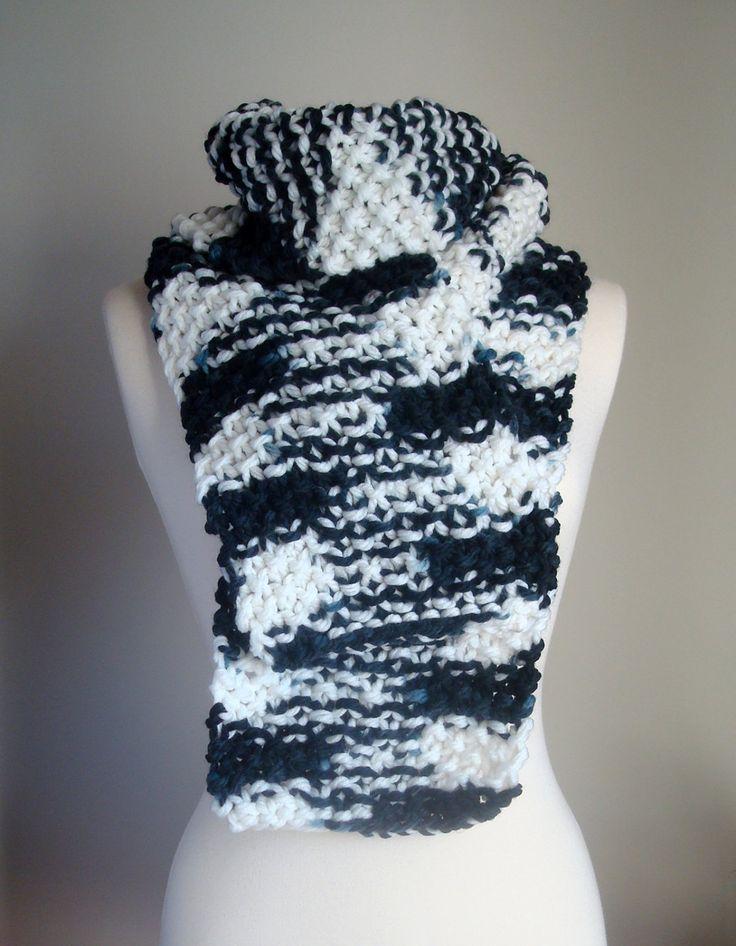 Hand knit unisex black & white scarf, black white chunky knit scarf, checkered unisex knit scarf, 2 color knit scarf, bulky knit scarf by ManaKori on Etsy