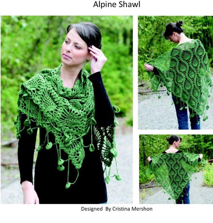 Alpine Shawl by Christine Merschon - Free pattern!Shawl Pdf, Cascading Yarns, Knits Crochet, Free Pattern, Free Crochet, Ultra Pima Alpine Shawl, Crochet Scarf Wraps Shawl, Crochet Patterns, Crochet Clothing