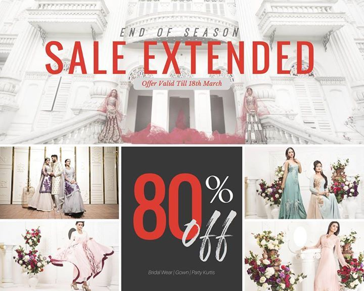 #StyleSell #WeddingSale - Sale EXTENDED! Get 80% OFF on the most exquisite Wedding Collection by STYLSELL - Lahengas, Long Gowns, Shararas, Sherwanis, Bridal shoes, Bridal accessories and many more! Offer valid till 18th March! VERY Limited Stock left! #EndofSeasonSale  Our Shop address: Showroom 1: South Avenue, Gulshan 1 (Just beside Gulshan 1 DCC Market on the main road). Showroom 2: Police Concord Plaza, Level 1, Shop no: 234, StyleSell. Helpline: 04478787877 #Bridalwear #Designer…