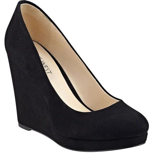 Nine West Halenia Suede Wedge Pumps ($99) ❤ liked on Polyvore featuring shoes, pumps, black, black suede pumps, wedge shoes, slip-on shoes, round toe pumps and black shoes