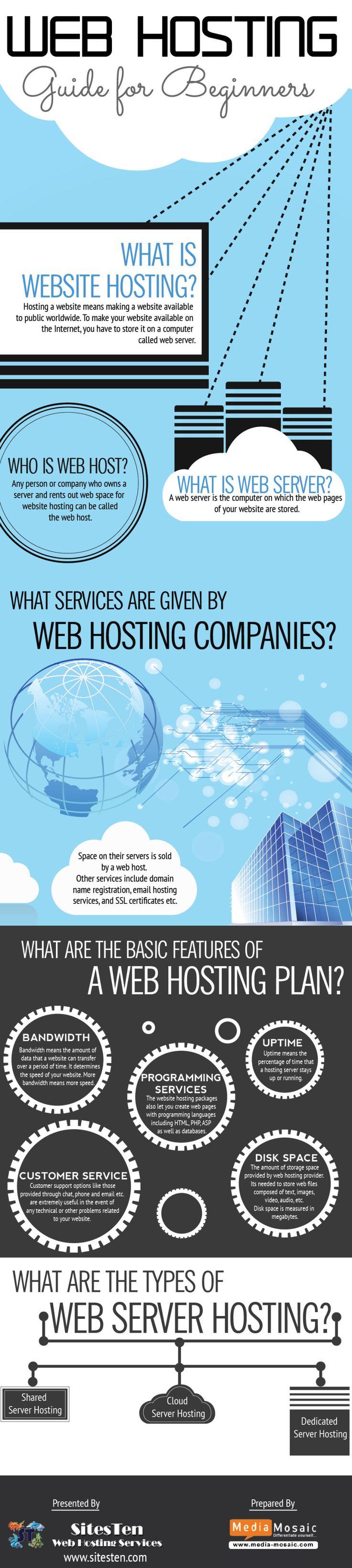 Web Hosting Guide For Beginners .  #infographic #WebHosting #Blogging