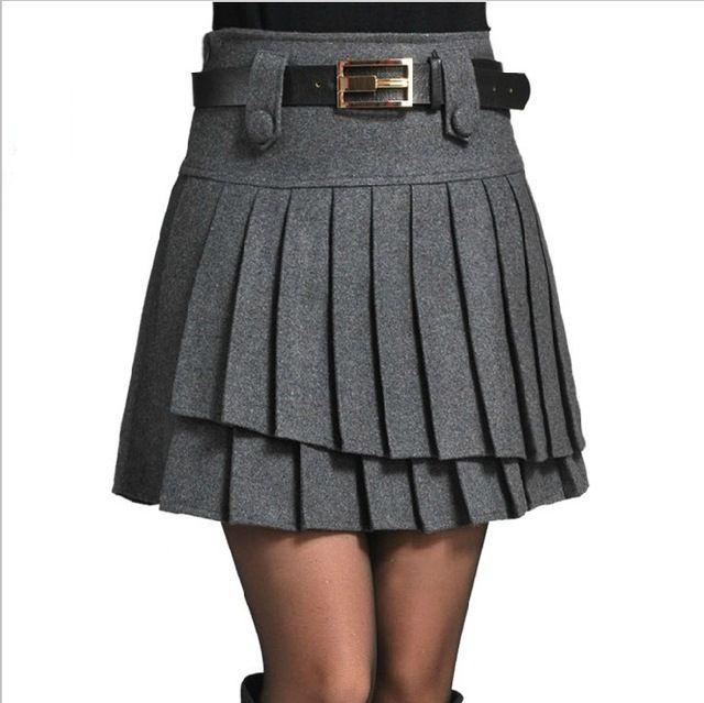 Faldas de mujer lana Vintage faldas de cintura alta moda falda plisada más el tamaño de invierno ropa de trabajo del otoño del resorte de la falda