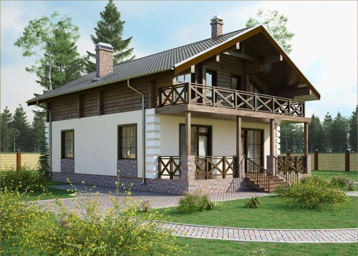 Проект дома из керамических блоков и профилированного бруса площадью 193 кв.м. Производим профилированный брус, строим дома.