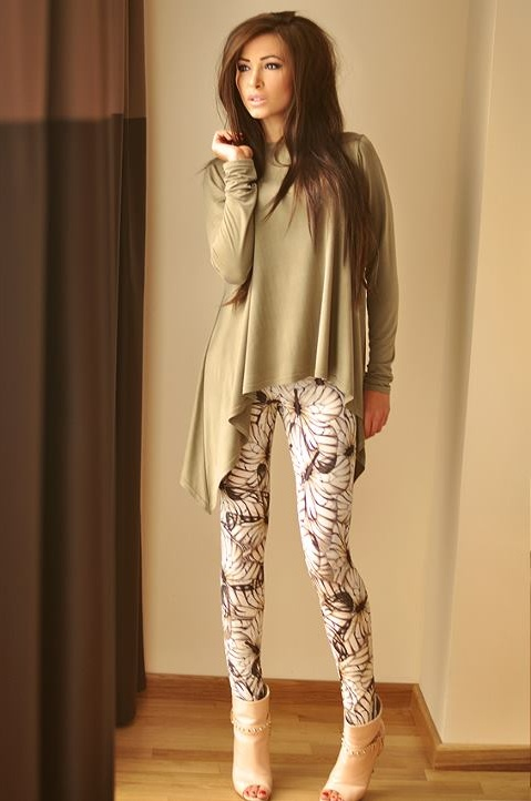 Stretchy close-fitting leggings in coral, blue and beige colour with butterflies. Perfect both for casual and smart occasions.   Loose-fitting blouse with some interesting asymmetrical cuts on both sides. Available in coral, navy blue and beige colour. High quality fabric. Perfect for casual and evening wear.