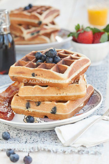 Paleo Blueberry Waffles from Against All Grain ~ The BEST grain-free waffles. Even substituted the egg whites for chia egg whites and they came out awesome!
