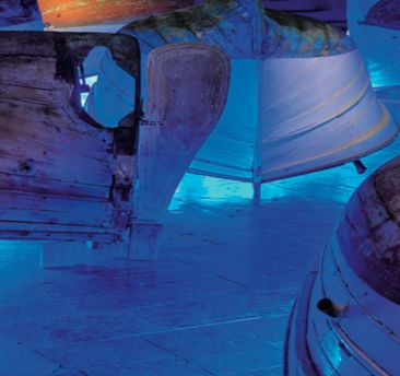 Liquid Light - Llaut Light installation view Tesa 94, Arsenale Nord San Cristoforo, Venice 6 may - 22 nov. 2015 let's visit a Single Installation landscape and feel a social map of old decay fishermana situation of mediterranean Island Palma de Mallorca in direct line with Venice Laguna's enviroment