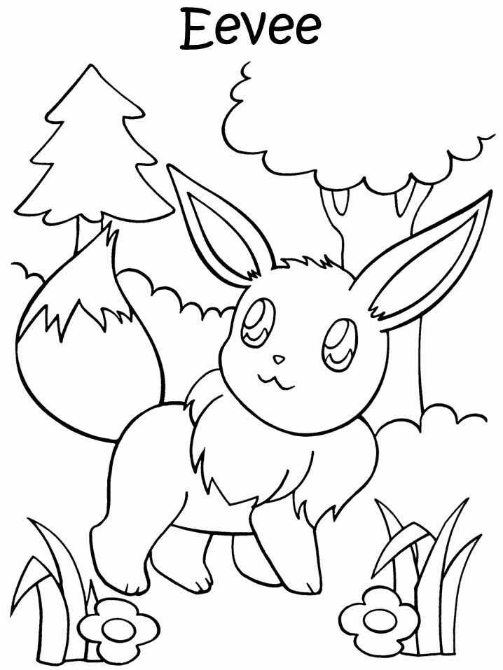 Pokemon Coloring Page Of Eevee Coloring Pages Printable