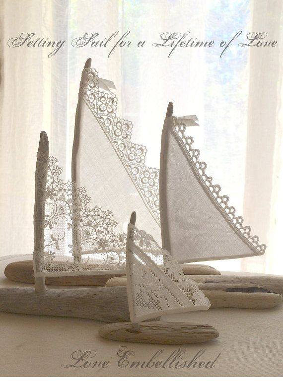 Antique Lace and Linen Sails Love Embellished Bohemian Inspired Romance