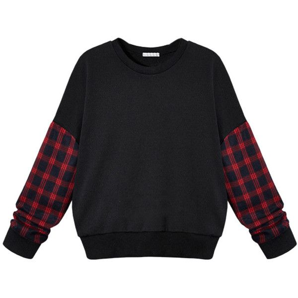 Choies Black Plaid Sleeve Sweatshirt With Drop Shoulder ($26) ❤ liked on Polyvore featuring tops, hoodies, sweatshirts, sweaters, shirts, pullovers, black, black pullover, sleeve shirt and black shirt