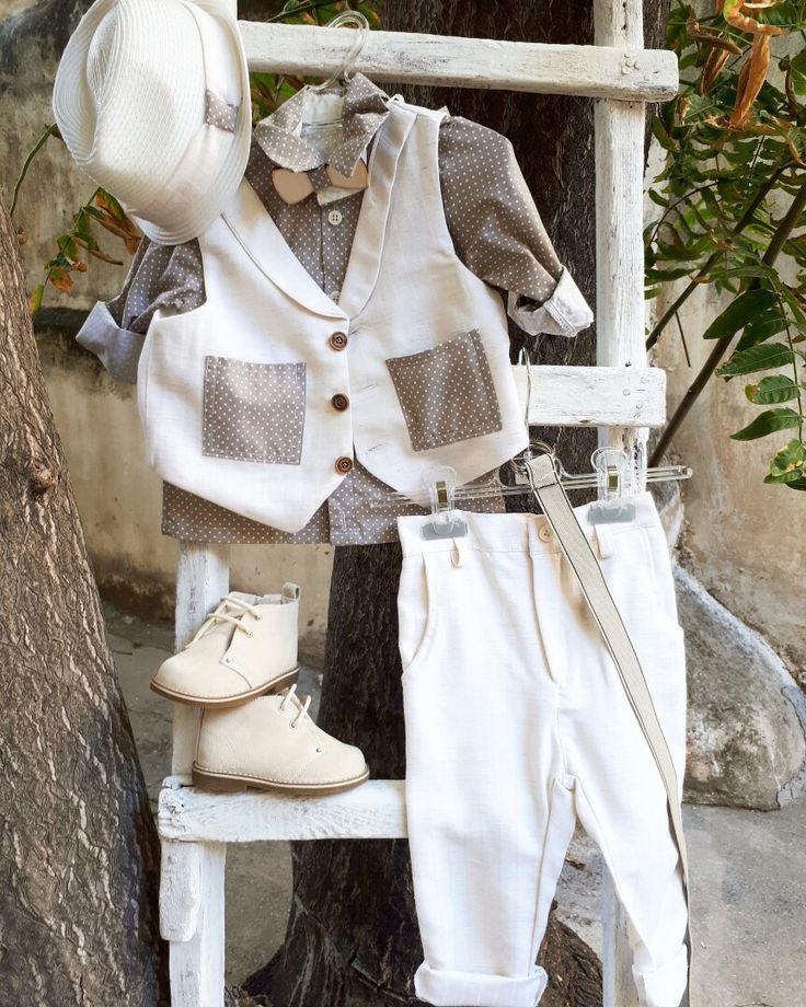 Βαπτίστικο ρούχο σε χρώμα της άμμου πουά με λινο μπεζ παντελόνι!! βαπτίστικα ρούχα για αγορακι!καλέστε 2105157506  www.valentina-christina.gr  #βάπτιση #βαπτιση #vaptisi#baptisi