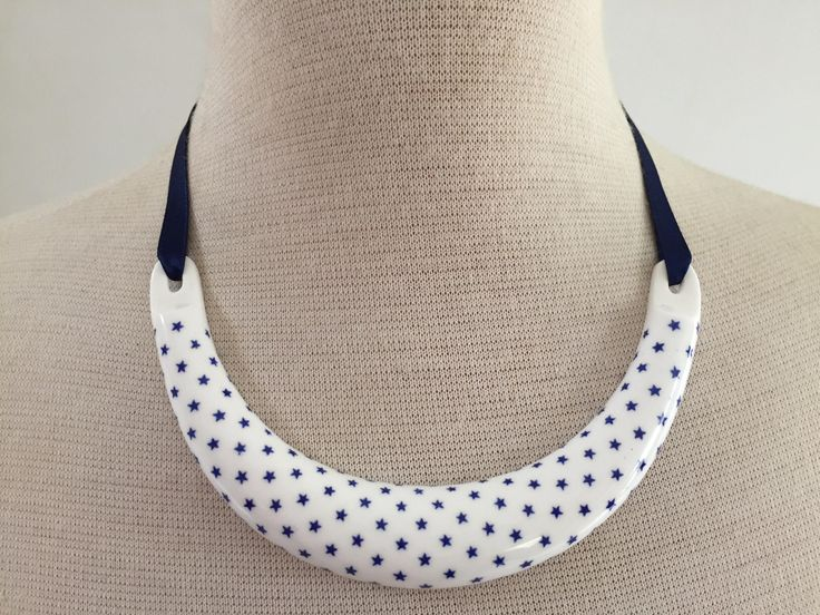 Star necklace, vintage china necklace, Kenneth Jay Lane Royal Worcester necklace, blue and white necklace, collar necklace by AnyaSophiaCo on Etsy