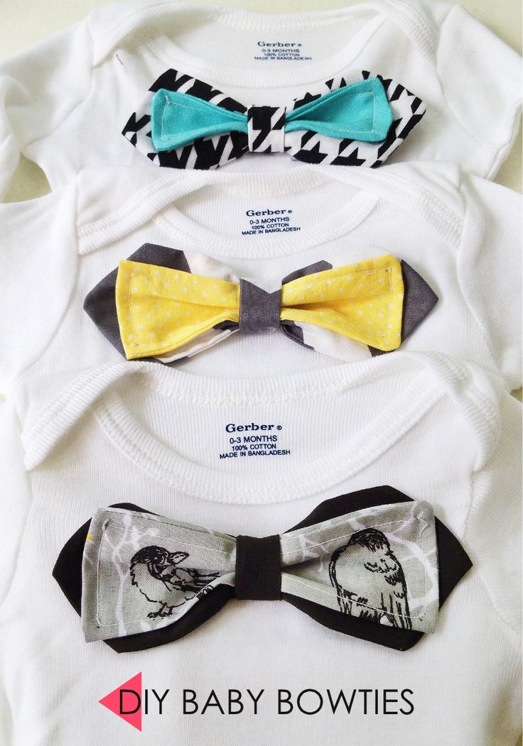 Easy DIY baby gifts - The Em Dash. My baby shower present included five DIY baby gifts, which included these baby bowties. Post includes pics and tutorials.