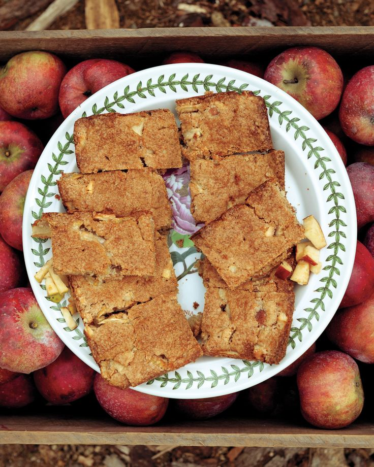 "Apple Brownies | Martha Stewart Living - Loaded with fall flavor, apple brownies mix up as quickly as the chocolate version -- just the thing for a school bake sale. Any sweet, firm variety of apple will work in this recipe, which was developed by John Bunker's friend Amy Traverso. Recipe adapted from ""The Apple Lover's Cookbook,"" by Amy Traverso."