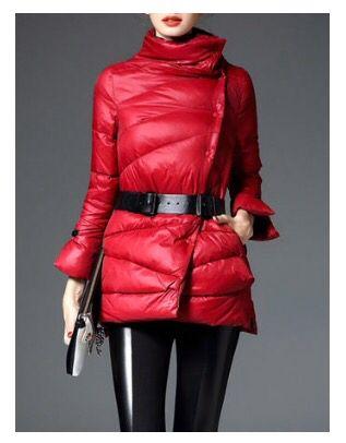 Belted Red down coat. #stylewe