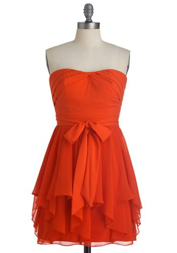 Perfect Valentines Day Dress: Fashion, Style, Color, Wedding Ideas, Bridesmaid Dresses, Endearment Dress, Bow, Orange Dress, Modcloth Com