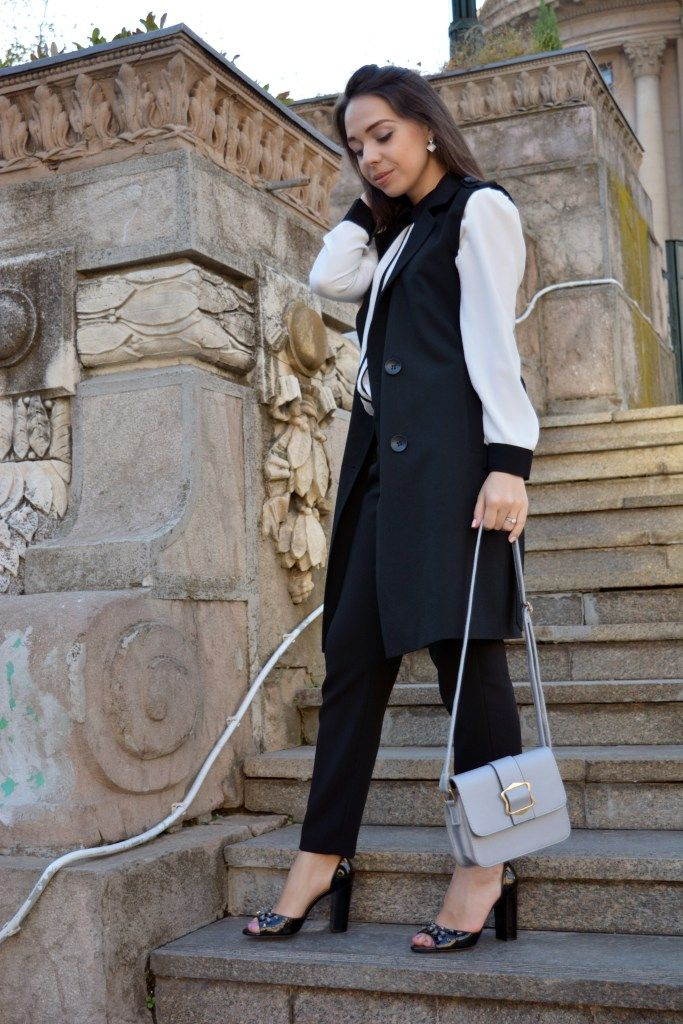Metallic Bag Black and White Outfit