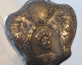Antik VICTORIAN Eğimli EL Dresser Ayna KADIN Yüz Reposse Silverplate 1800