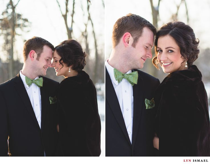 Walper Hotel Wedding | Beautiful winter portraits of a bride and groom at Victoria Park in Kitchener | Kitchener wedding photography | Green bow tie