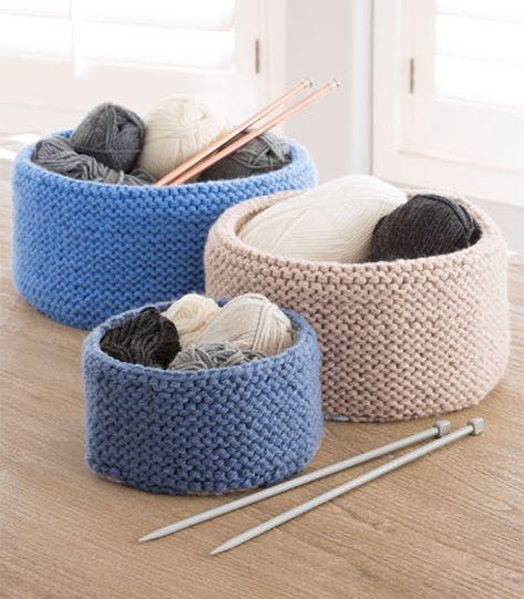 Padrão de confecção de malhas para cestas costuradas em jarreteira - cestas fáceis em 3 tamanhos. Kn rápido ...