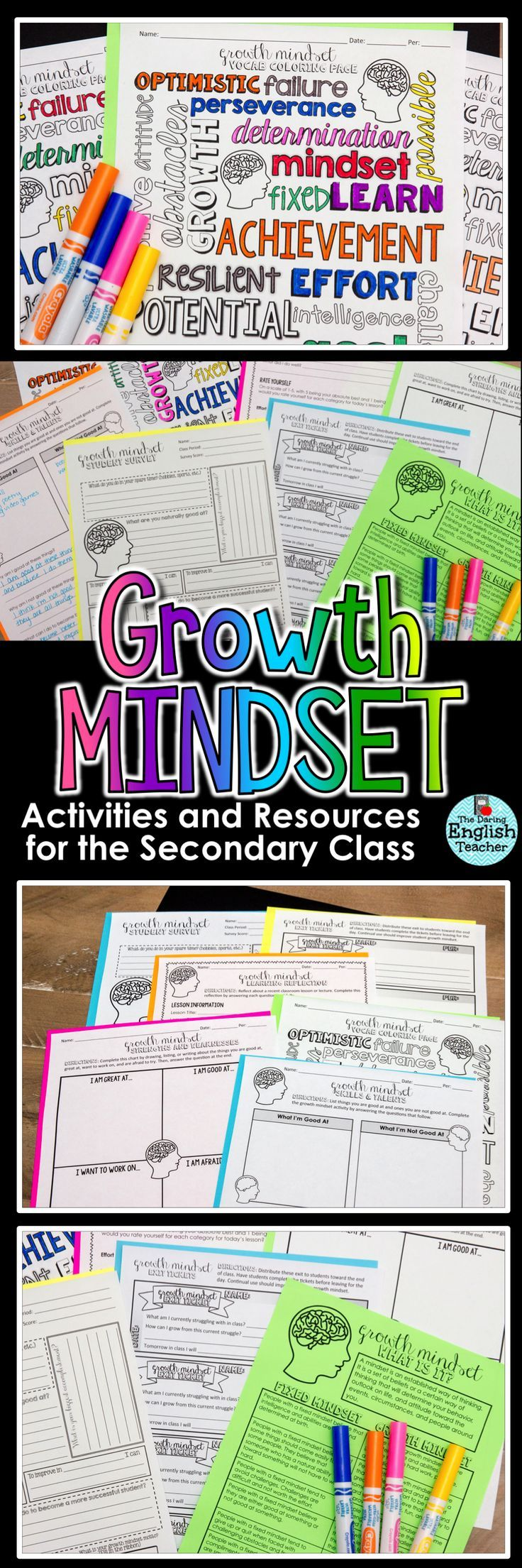 Incorporate growth mindset teaching resources, activities, and strategies into your middle school or high school classroom with this Growth Mindset Learning Pack.