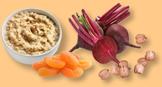 Iron rich foods: oatmeal, dried apricots, beets, chickpeas